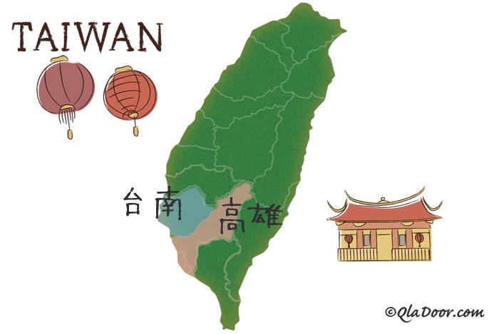 台南と高雄の場所の地図