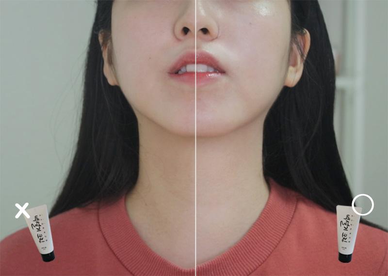 韓国コスメ・シロモチクリーム(ペクソルギ)の効果と首の比較写真