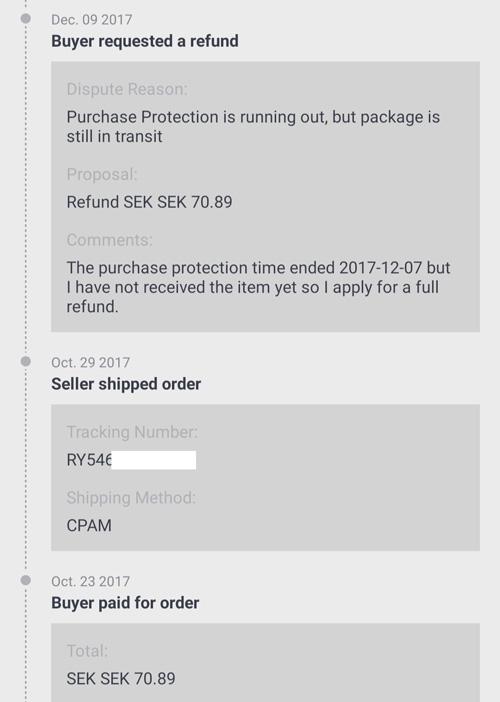 AliExpress(アリエクスプレス)のOpen disputeの結果と返金