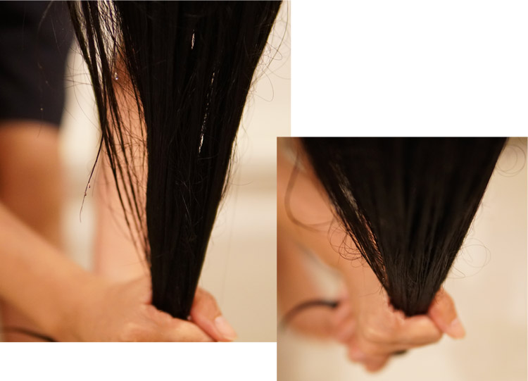 moremo・モレモウォータートリートメントの使い方・シャンプー後、手でしっかりと髪の毛の水気を切る